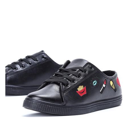 Czarne tenisówki z haftem Gianna - Obuwie