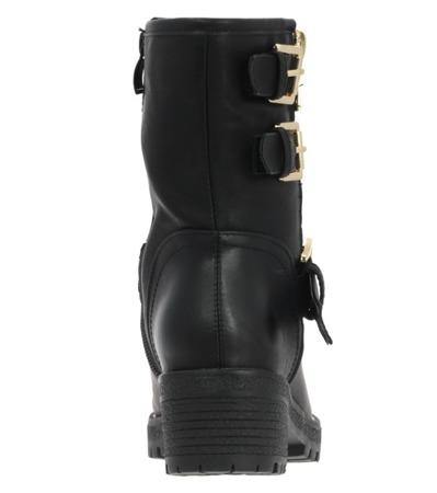 Czarne traperki z klamrami - Obuwie