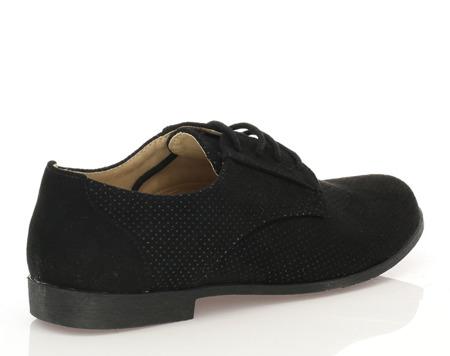 Czarne, wiązane półbuty  - Obuwie