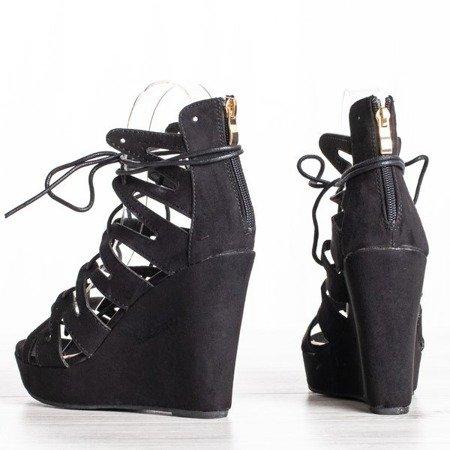 Czarne wiązane sandały na koturnie - Obuwie