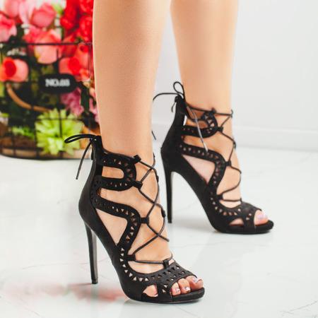 Czarne wiązane sandały na szpilce Ofena - Obuwie