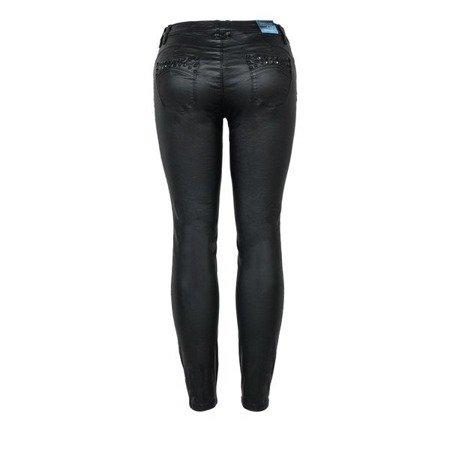 Czarne woskowane spodnie z ćwiekami - Spodnie