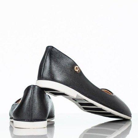 Czarno-beżowe baleriny z przypinką Fides - Obuwie