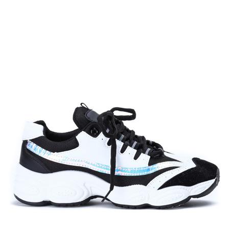 Czarno białe buty sportowe na grubszej podeszwie Celie Obuwie