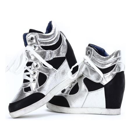 Czarno-białe sneakersy na koturnie Lefkada - Obuwie