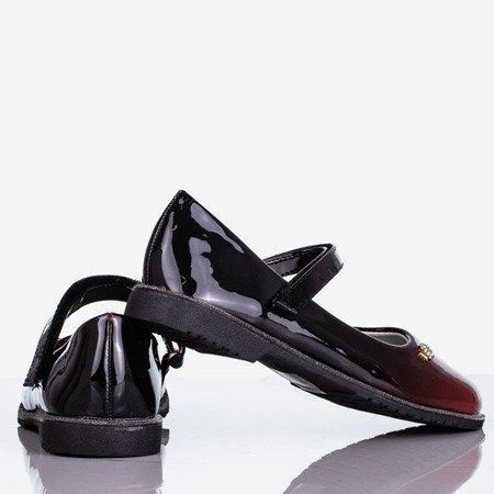 Czarno-bordowe dziewczęce baleriny lakierowane Lili Princess - Obuwie