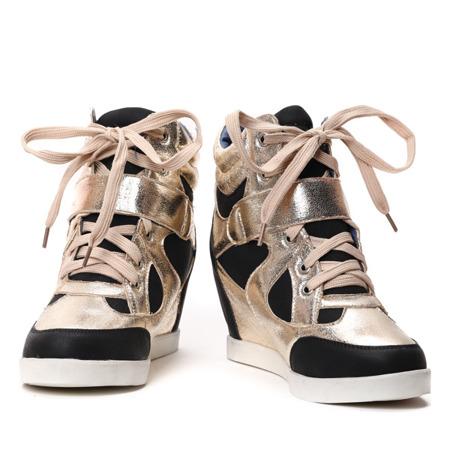 Czarno-złote sneakersy na koturnie - Obuwie