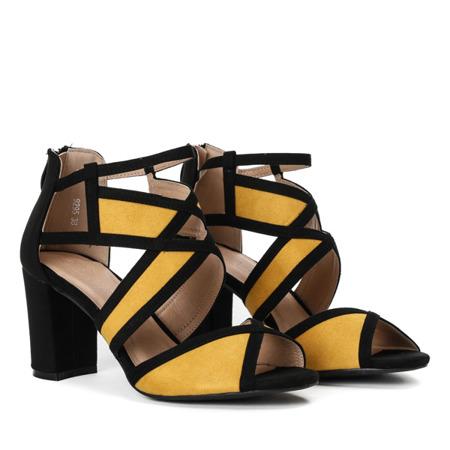 Czarno-żółte sandały na słupku Rosaline - Obuwie