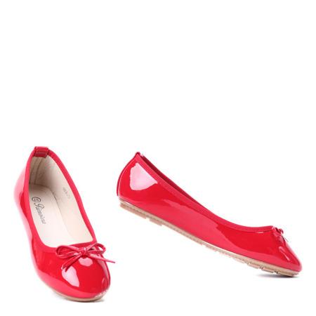 Czerwone balerinki z kokardką Rachel - Obuwie