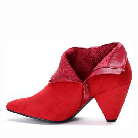 Czerwone botki na trójkątnym obcasie Madelynn - Obuwie