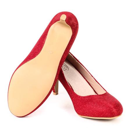 Czerwone, brokatowe czółenka - Obuwie