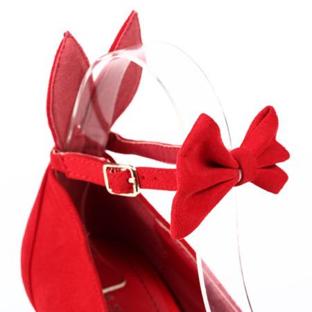 Czerwone czółenka z uszami na obcasie Arcelia - Obuwie