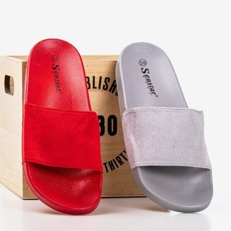 Czerwone damskie klapki Nayail - Obuwie