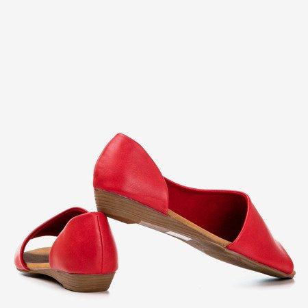 Czerwone damskie sandały na niskiej koturnie Irynisa - Obuwie
