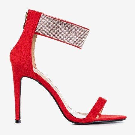 Czerwone damskie sandały na wyższej szpilce z cyrkoniami Klisona - Obuwie