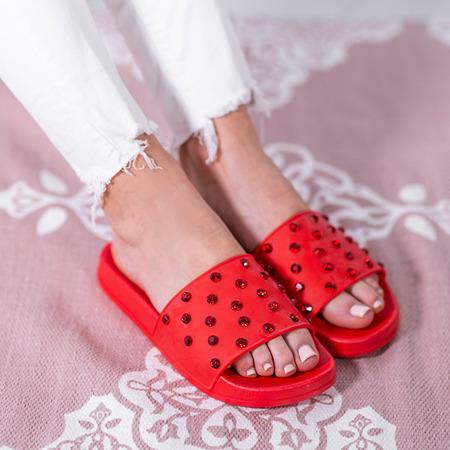 Czerwone klapki z cyrkoniami Anastasiya - Obuwie