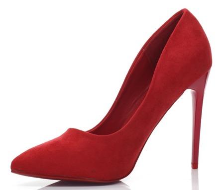 Czerwone, klasyczne czółenka na szpilce - Obuwie