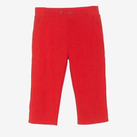 Czerwone legginsy krótkie ze ściągaczem - Spodnie