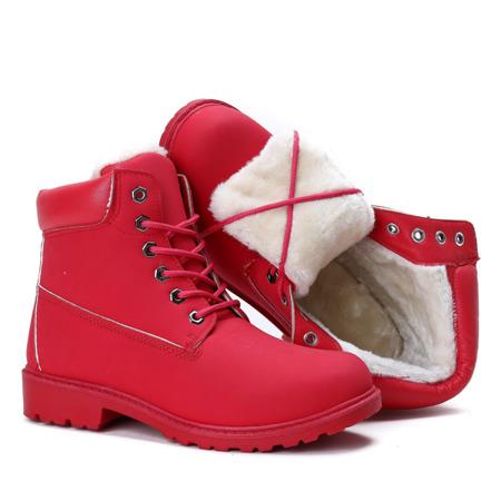 Czerwone ocieplane trapery Everie - Obuwie