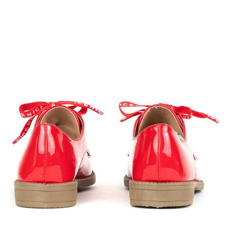 Czerwone półbuty sznurowane Peronia - Obuwie