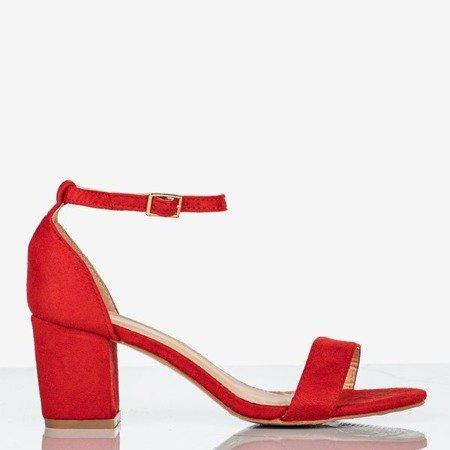 Sandały damskie Royalfashion.pl czerwone ze skóry