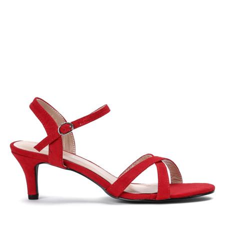 Czerwone sandały na niskiej szpilce Severina - Obuwie