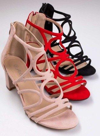 Czerwone sandały na słupku Valora - Obuwie