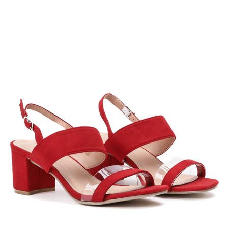 Czerwone sandały na słupku z przezroczystą wstawką Luisa - Obuwie