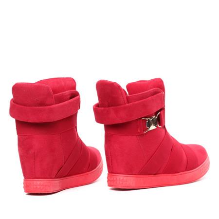 Czerwone sneakersy na krytym koturnie Joanna - Obuwie