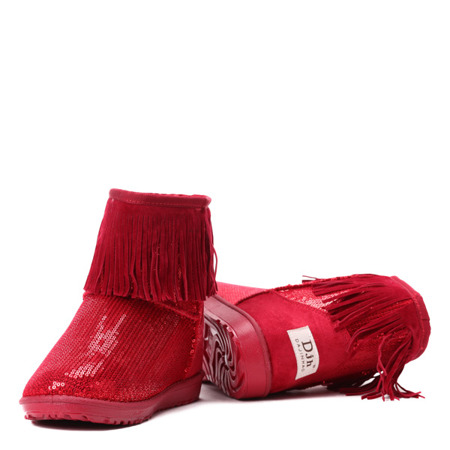 Czerwone śniegowce z cekinami - Obuwie