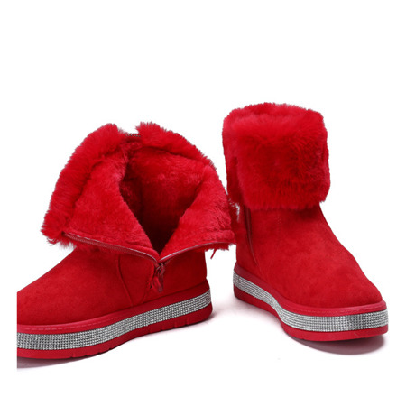 Czerwone śniegowce zdobione cyrkoniami Katia - Obuwie