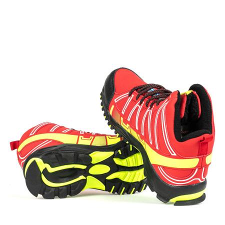 Czerwone sportowe męskie buty trekkingowe z neonową żółtą wstawką Everest Obuwie