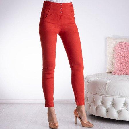 Czerwone tregginsy z wysokim stanem - Spodnie
