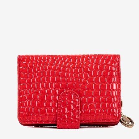 Czerwony mały portfel damski ze zwierzęcym tłoczeniem - Portfel