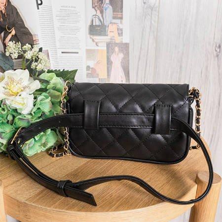 Damska pikowana torebka a'la nerka w kolorze czarnym - Torebki