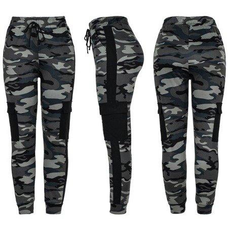 Damskie spodnie dresowe moro z szarą wstawką - Spodnie
