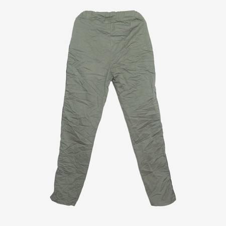 Damskie spodnie dresowe w kolorze khaki z lampasami - Odzież