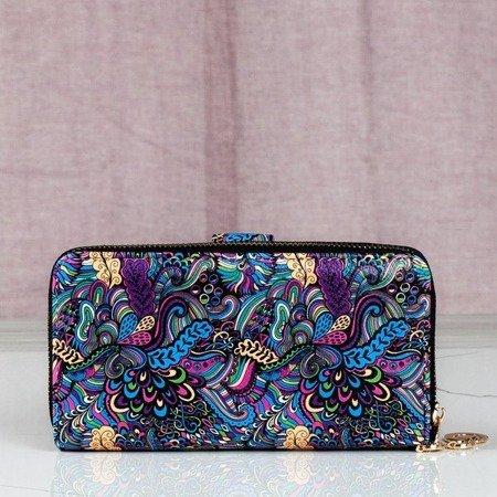 Duży wzorzysty portfel w kolorze niebieskim - Portfel