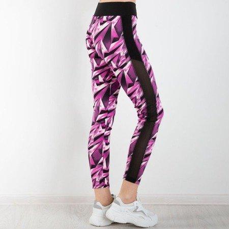Fioletowe getry z geometrycznym wzorem - Spodnie
