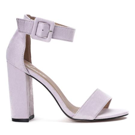 Fioletowe sandały na wysokim słupku Rosalina - Obuwie