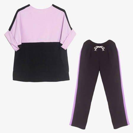 Fioletowo - czarny komplet dresowy - Odzież