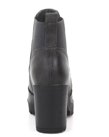 Grafitowe botki na słupku z ozdobnym noskiem     - Obuwie