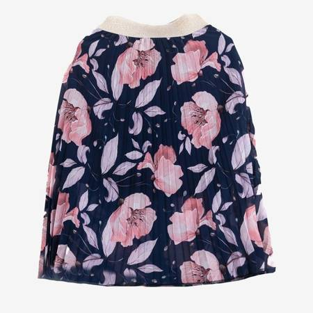 Granatowa plisowana spódnica midi z printem w kwiaty - Odzież