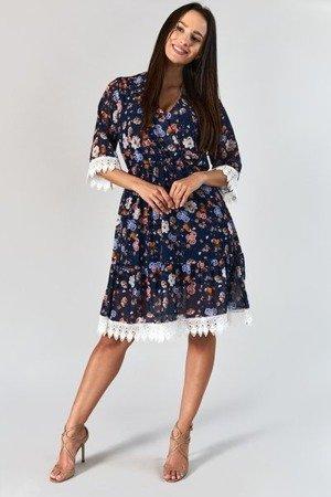Granatowa sukienka midi w kwiaty - Odzież