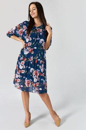 Granatowa sukienka przed kolano w kwiatki - Odzież