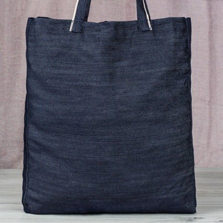 Granatowa torba z napisem - Torebki