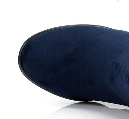 Granatowe botki na wyższym słupku z frędzelkami Fedina - Obuwie