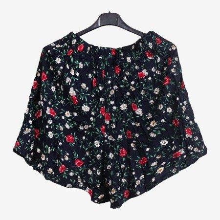 Granatowe damskie krótkie spodenki w kwiatki - Odzież