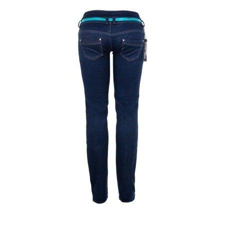 Granatowe jeansowe spodnie z niskim stanem - Spodnie