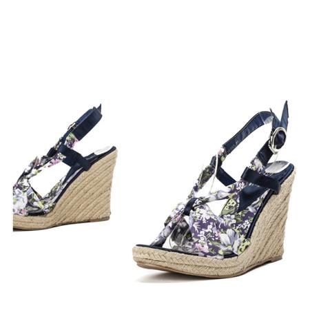 Granatowe sandały na koturnie Olena - Obuwie
